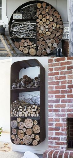 15 firewood storage and creative firewood rack ideas for indoors and outdoors. Lots of great building tutorials and DIY-friendly inspirations! - A Piece Of firewood storage and creative firewood rack ideas Wood Storage Rack, Diy Storage, Outdoor Storage, Rack Shelf, Cheap Storage, Patio Storage, Fire Wood Storage Ideas, Indoor Log Storage, Storage Design