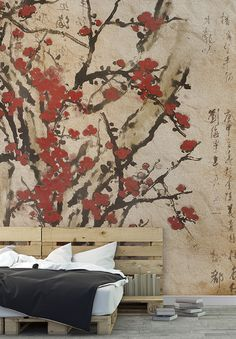 """""""Blossom"""", WallPepper® Trend_line,Silk way Collection Elements Of Design Space, Asian Wall Decor, Oriental Wallpaper, Hall Painting, Build A Wall, Modern Asian, Red Walls, Wall Design, Print Design"""