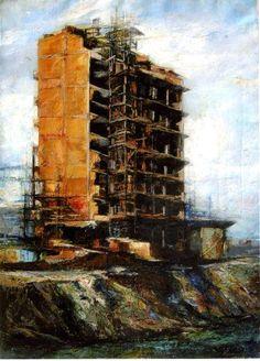"""Renzo Vespignani, """"Palazzo in costruzione"""", 1957, olio su tela, collezione privata."""