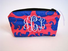 Monogrammed Makeup Bag Lilly Pulitzer Tusk In Sun Travel Cosmetic Bag Pouch Big Little Sorority Gift Elephants