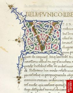 White-vine initial from De Secundo Bello Punico by Titus Livius, Florence, British Library Fancy Fonts, Cool Fonts, Illuminated Letters, Illuminated Manuscript, 17th Century Art, Book Of Kells, Beautiful Calligraphy, Medieval Manuscript, Statues