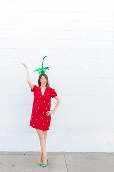 50+ Easy Halloween Costumes For Adults: DIY Strawberry Costume