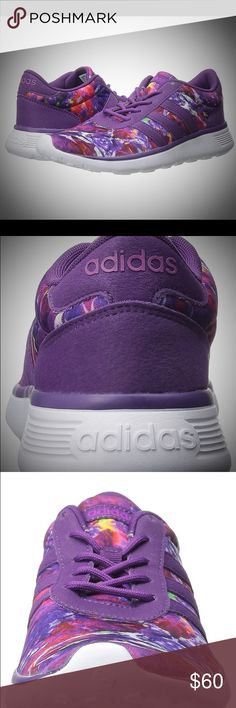 Adidas NEO NIB women's size 8 Purple multicolor Adidas light weight running shoes.  FitFOAM® removable cushioned insole, made of a visco-elastic rebound foam, contours to your foot like a custom mold and provides superior comfort High-abrasion EVA midsole for long-lasting cushioning. Women's size 8. Adidas Shoes Athletic Shoes