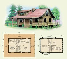 calhoun log home  2 bed rooms, fireplace, 2 story, wrap-around-pourch  I really like this! but I would reverse it! Make the master bedroom upstairs, larger bathroom.