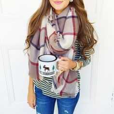 """Vermont, I ❤️ you. And your maple coffee. (Which you can't see, but I promise it's in my mug haha!) P.S. My scarf is only $24 & my striped turtleneck is…"""