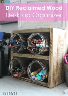 Reclaimed Wood Desktop Organizer