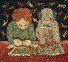 Ss The Readers Rug Hooking Pattern Sharon Smith Punch Needle Wool Lique