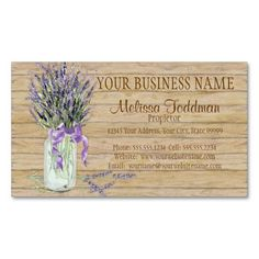 Rustic Country Mason Jar French Lavender Bouquet Florist Business Cards