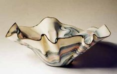 Linda Caswell studio potter working in porcelain agateware