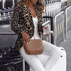 2020 Women Elegant Fashion Outwear Coat Plus Size Regular Casual Long Sleeve Leopard Printed Blazer Trend Fashion, Style Fashion, Fashion Coat, Leopard Print Jacket, Leopard Blazer, Look Blazer, Mode Chic, Printed Blazer, Plus Size Outfits