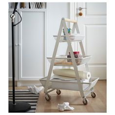 RISATORP Utility cart, white - IKEA Ikea Island, Kitchen Island Trolley, Rolling Utility Cart, Home Grown Vegetables, Kitchen Images, Rustic Bathrooms, Ladder Bookcase, Extra Storage, Furniture Projects