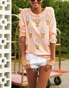 Ice Cream Top  With White Shorts