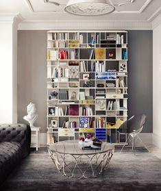 @bocadolobo huge bookshelf for big spaces