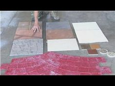 Change the look of concrete by giving it a faux stone finish. Clean the concrete; then stamp it with DIY foam stamps dipped in paint. Stamped Concrete Designs, Decorative Concrete, Outside Flooring, Rainbow Loom Patterns, Foam Stamps, Faux Stone, Window Design, Home Repair, Concrete Floors