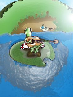 Happy Lake Frog Playing Guitar on a Mushroom on a Lilypad Playing Guitar, Art Music, Mushroom, Original Artwork, My Arts, Greeting Cards, Candles, The Originals, Unique Jewelry