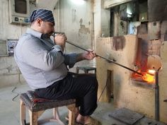 Glass blower, Abu Ahmad Glass Factory in Old Damascus Damascus, Traditional, Glass, Beauty, Damask, Drinkware, Corning Glass, Beauty Illustration