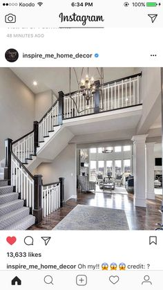 Entry: Curved Staircase, Open Floor Plan, Overlook From The Upper Level    Cool Wood Floor!