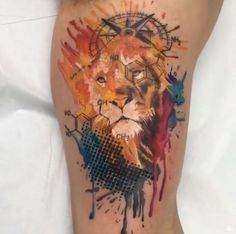 ... Watercolor Lion Tattoo on Pinterest | Watercolor lion Lion tattoo and