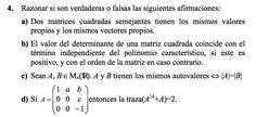 Ejercicio 4 del Examen de Matemática 2 (ADE, ULL). 9 Diciembre 2008. Tema: Matrices