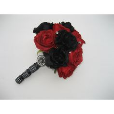 Black And Red Gothic Wedding Bouquet (€69) ❤ liked on Polyvore featuring home, home decor, gothic home decor, goth home decor, gothic home accessories and red and black home decor