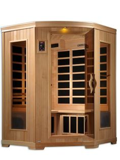 The Bhodi 2-3 Person Corner Infrared Sauna is the definition of luxury. Its efficient corner design makes a beautiful addition to any room. in your home or office The Bhodi corner infrared sauan is equipped with 10 Carbon Tech Heating panels to provide maximum coverage and absorption of infrared heat therapy.