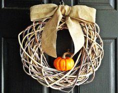 Fall Pumpkin Wreath, Geometric Wreath, Natural and Rustic Fall Wreath, Burlap and Pumpkin Wreath