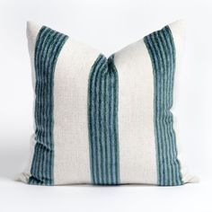 This bold blue and cream striped pillow is fun and casual with a preppy coastal twist. Set against a woven cream ground cloth, the wide, low-pile chenille stripe steals the show in vibrant tones of ocean blue. Living Room Styles, Large Sofa, Coastal Living, Pillow Inserts, Seaside, Swatch, Bed Pillows, Blue And White, Preppy