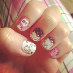 If you like authentic looking Hello Kitty prints on your nail then this one is just perfect! The art style on the nails is simply adorable as it plays with a simple plain background of white, pink and black then topped with various Hello Kitty poses as well pink and black polka dots. Very artsy look perfect for the very artsy you.