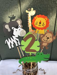 Zoo/Jungle/Safari animal centerpieces by PrettyLitteCreations on Etsy Zoo/Jungle/Safari animal centerpieces by PrettyLitteCreations on Etsy Safari Theme Birthday, Jungle Theme Parties, Wild One Birthday Party, Safari Birthday Party, Animal Birthday, 1st Birthday Parties, Zoo Animal Party, Baseball Birthday, Baseball Party