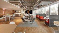 The #design of this office space inspires creativity from its modern design and various places to #collaborate with teammates.