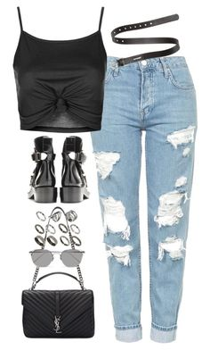 """""""Sem título #4893"""" by fashionnfacts ❤ liked on Polyvore featuring Topshop, Acne Studios, Yves Saint Laurent, Linda Farrow and ASOS"""
