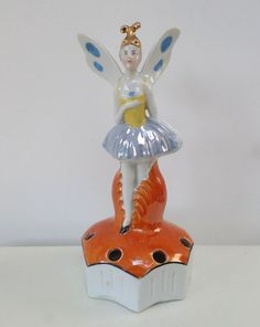 VINTAGE ART DECO PORCELAIN FAIRY FLOWER FROG,POSY HOLDER hand painted #Figurines