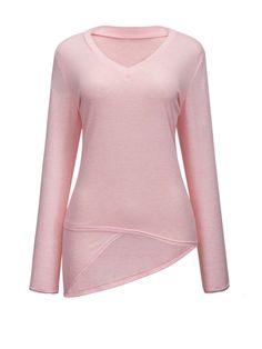 V Neck Plain Asymmetric Hem Long Sleeve T-shirt Only $12.95 USD More info...