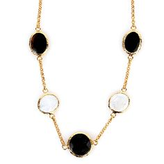 West Coast Jewelry Elya Goldplated Mother of Pearl and Onyx Necklace, Women's