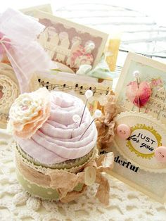 Handcrafted cupcake pincushion