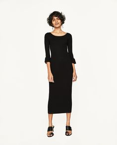 ZARA - WOMAN - RIBBED DRESS WITH FLARED CUFFS