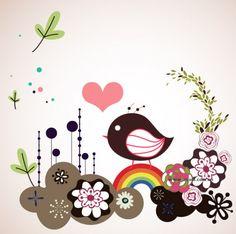 lindas flores, material de vetores de aves ilustrador