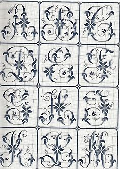 Cross Stitch Floral & Vine Alphabet - Side A Embroidery Alphabet, Blackwork Embroidery, Embroidery Patterns Free, Cross Stitch Embroidery, Stitch Patterns, Cross Stitch Letters, Mini Cross Stitch, Cross Stitch Needles, Monogram Alphabet
