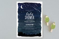 Shooting Star Baby Shower Invitations by Shiny Penny Studio at minted.com