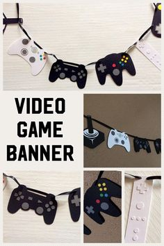 Celebrate your gamer, old school or new, with this video game controller banner. Perfect for those video game themed birthday parties or use as decor for all those gamer enthusiasts. This banner features two of each of the following game systems: Atari, Xbox, Nintendo Wii, Playstation, Nintendo 64 & Super NES. #videogameparty #ad #eppartyad