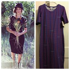 Lularoe Julia Dress Hard to find Julia in blue with red stripes. Julia is the body hugging dress that makes everyone look great. You will love this dress. Medium Fits size 8 to 12. Dresses Midi