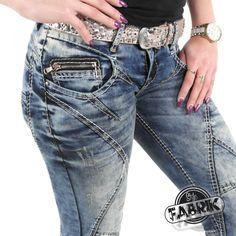 Cipo & Baxx Damen Jeans CBW 175 Regular Fit mit schrägen Ziernähten blau