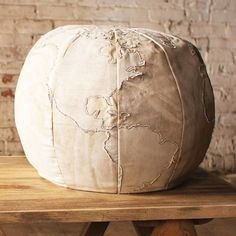 Canvas Globe Pouf