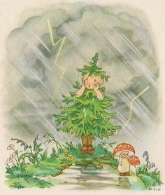 Nora Scholly illustrates the transformation of nature through the passing of the seasons themselves. In the booklet entitled Tannenbaumchen, she draws a small fir tree destined to become, through the succession of spring with its flowers and birds, with the first storms of summer, autumn and winter with the wind swirling the ice and Snow