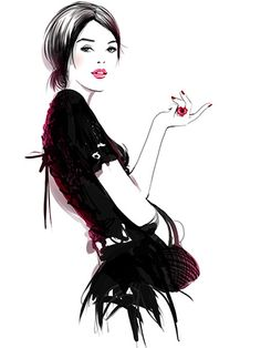 Sophie Griotto, illustrator, represented by Caroline Maréchal. Fashion Illustration Face, Illustration Sketches, Watercolor Illustration, Fashion Illustrations, Fashion Design Drawings, Fashion Sketches, Fashion Wall Art, Fashion Prints, Relaxing Art