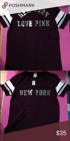 NWT S VS pink bling New York campus tee Limited edition New York destination campus tee PINK Victoria's Secret Tops Tees - Short Sleeve
