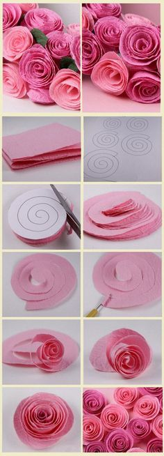 Papierrosen Paper Crafts - The Ultimate Craft Ideas Paper crafts had been very popular for a while n Tissue Paper Flowers, Felt Flowers, Diy Flowers, Fabric Flowers, Flower From Paper, Felt Roses, Giant Flowers, Ribbon Flower, Pink Roses