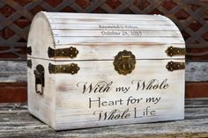 Distressed Wedding Card Box - Keepsake Chest - Card Box for Wedding - Personalized Wedding Card Holder - Rustic Wedding Decor from Country Barn Babe Rustic Card Box Wedding, Wedding Boxes, Wedding Cards, Diy Wedding, Wedding Ideas, Card Holder Wedding, Wooden Card Box, Gift Card Boxes, Mr Mrs