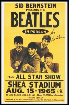 The Beatles at Shea Stadium John Lennon Paul McCartney George Harrison Ringo Star Beatles Poster Beatles Posters 11 x 17 poster Beatles Poster, Beatles Photos, Beatles Party, Rock Vintage, Vintage Music, Vintage Style, Rock And Roll, Rock Posters, Rock Music