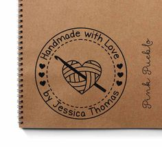 """Large 3x3"""" Personalized Crochet Rubber Stamp, Handmade with Love"""